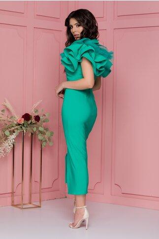 Rochie LaDonna verde cu volane la maneci si crepeu in fata