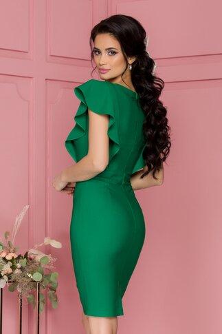 Rochie LaDonna verde cu volane pe umeri si accesoriu in talie