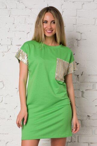 Rochie LaDonna verde deschis casual accesorizata cu paiete aurii si argintii