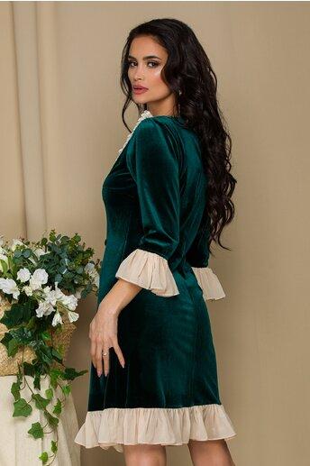 Rochie LaDonna verde din catifea cu insertii din voal crem