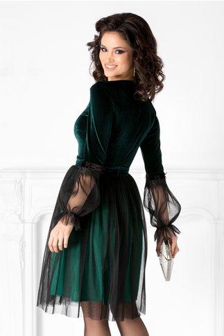 Rochie LaDonna verde din catifea cu tull si broderie