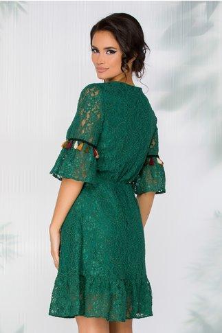 Rochie LaDonna verde din dantela cu ciucuri colorati