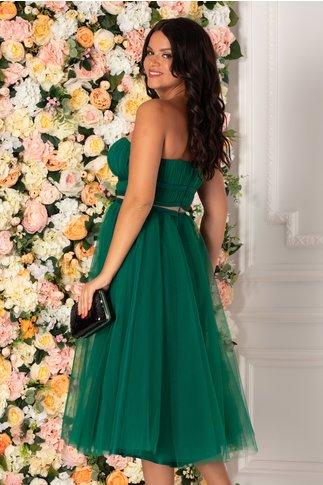 Rochie LaDonna verde din tull cu fundite in talie