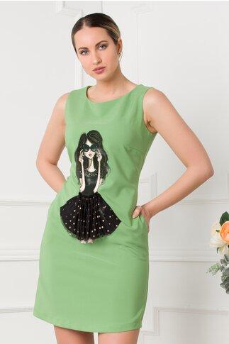 Rochie LaDonna verde fara maneci cu imprimeu portret
