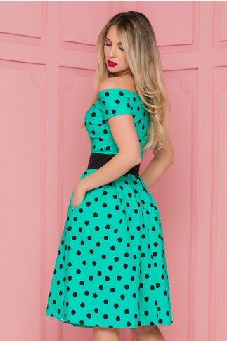 Rochie LaDonna verde imprimata cu buline negre
