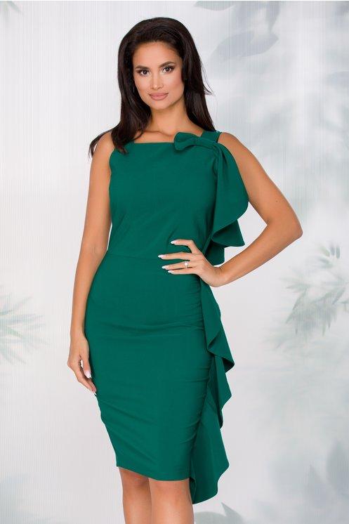 Rochie LaDonna verde inchis cu funda maxi