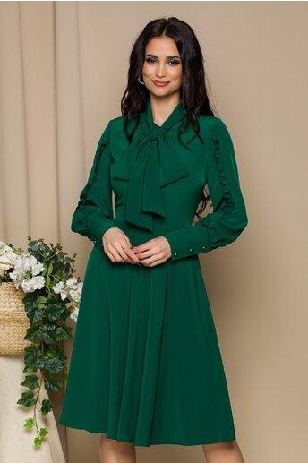 Rochie LaDonna verde inchis cu volanase pe maneci si guler tip esarfa