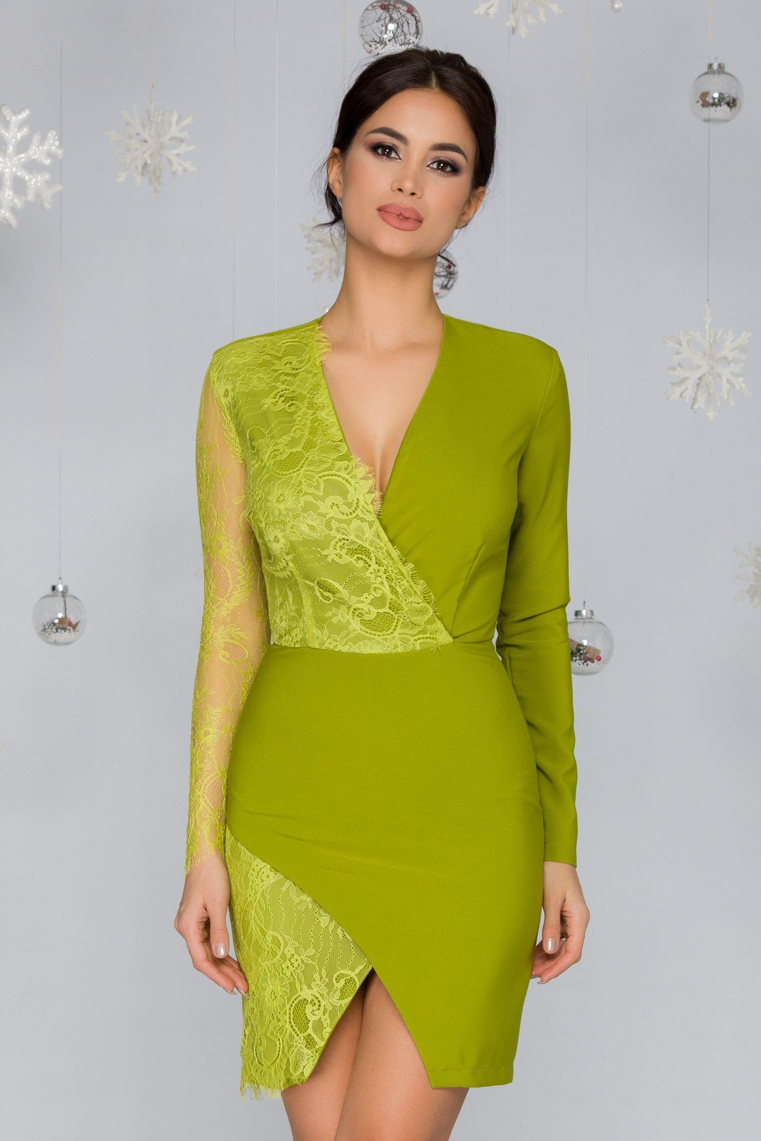 Rochie LaDonna verde lime cu o maneca din dantela Chantily