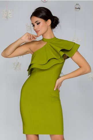 Rochie LaDonna verde lime pe un umar cu volan maxi la bust