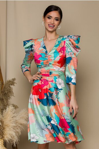 Rochie LaDonna verde mint cu imprimeuri florale corai