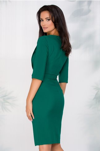 Rochie LaDonna verde office cu aspect petrecut