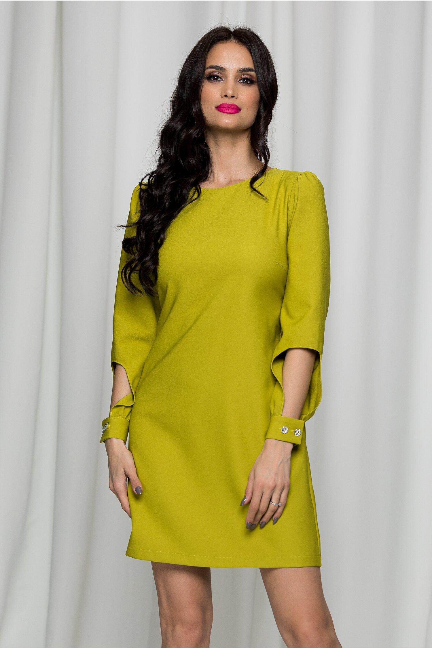 Rochie LaDonna verde olive eleganta decupata la maneci