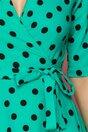 Rochie LaDonna verde petrecuta cu buline negre imprimate si tull la baza