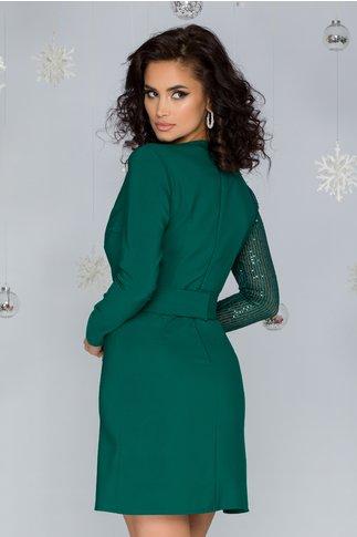 Rochie LaDonna verde  petrecuta cu paiete si cordon in talie
