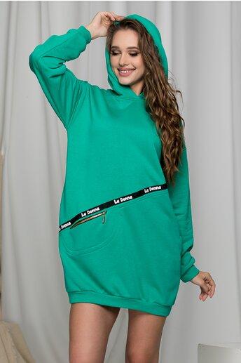 Rochie LaDonna verde tip hanorac cu gluga