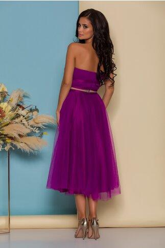 Rochie LaDonna violet din tull cu fundite in talie