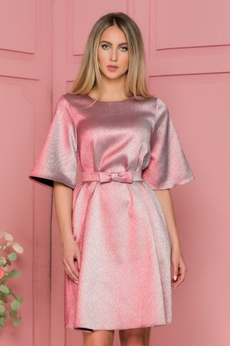 Rochie Lady roze cu relexii metalizate si curea in talie