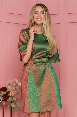 Rochie Lady verde cu relexii metalizate si curea in talie