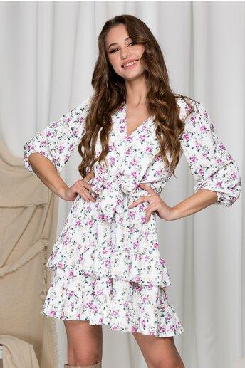 Rochie Lara alba cu imprimeuri florale lila si volane pe fusta