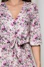 Rochie Lara bej cu imprimeuri florale lila si volane pe fusta