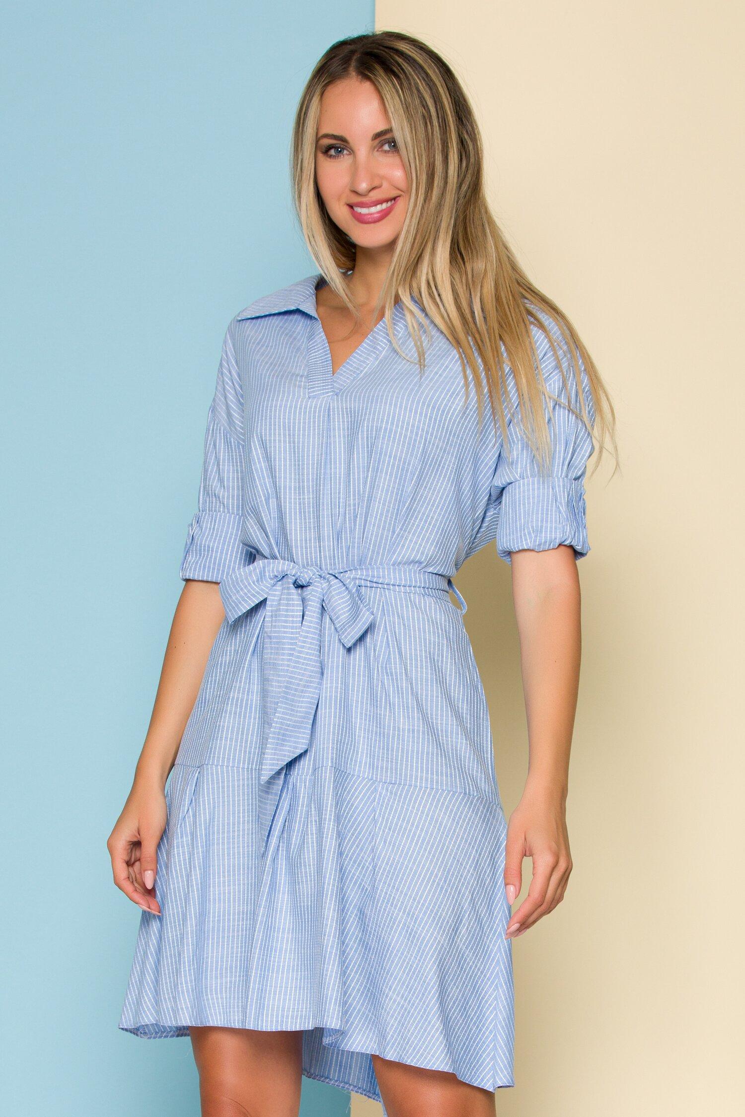 Rochie Lara bleu cu dungi cusute