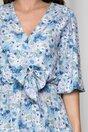 Rochie Lara bleu cu imprimeuri florale si volane pe fusta