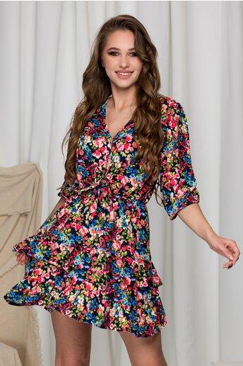 Rochie Lara bleumarin cu imprimeuri florale colorate si volane pe fusta