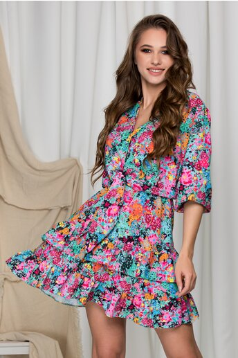 Rochie Lara cu imprimeuri multicolore si volane pe fusta