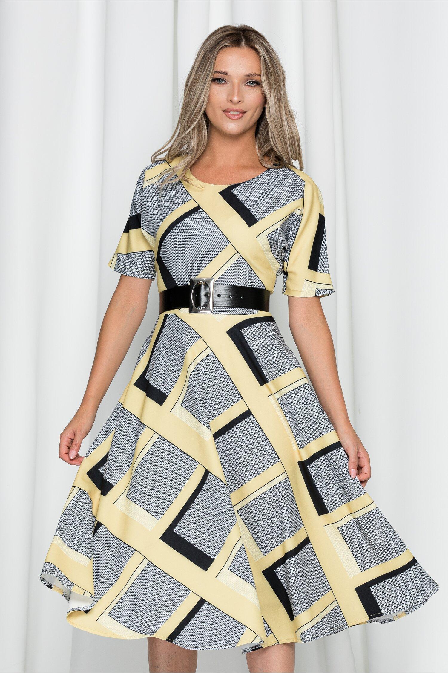 Rochie Lara galbena cu imprimeu geometric si curea in talie