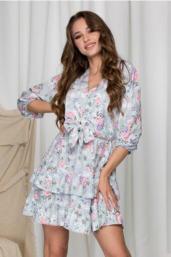 Rochie Lara gri cu imprimeuri florale roz si volane pe fusta