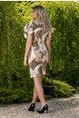 Rochie Lara kaki cu imprimeuri diverse