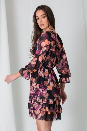 Rochie Lara neagra cu imprimeuri florale maxi maro