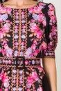 Rochie Lara neagra cu imprimeuri florale roz si lila