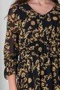 Rochie Lara neagra cu imprimeuri galbene