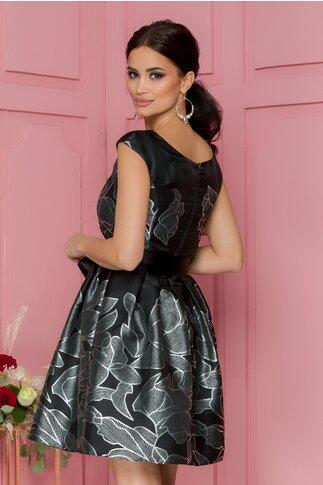Rochie Larisa neagra cu motive florale argintii