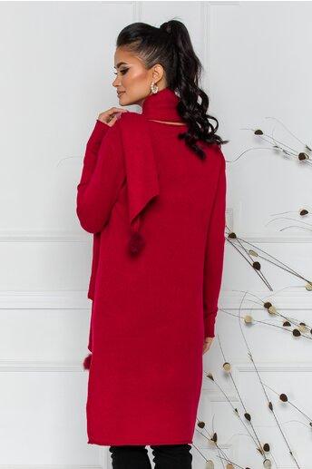 Rochie Larisa rosie cu accesoriu tip esarfa
