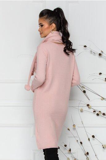 Rochie Larisa roz cu accesoriu tip esarfa