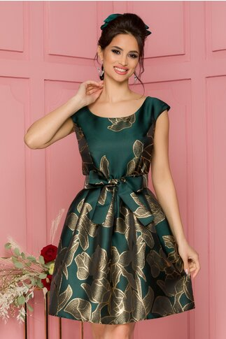 Rochie Larisa verde cu motive florale argintii
