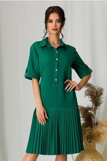 Rochie Larisa verde cu pliuri la baza