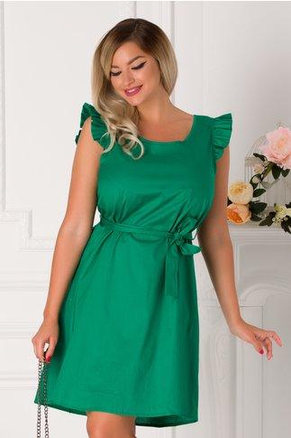 Rochie Larisa verde cu volanase la umeri