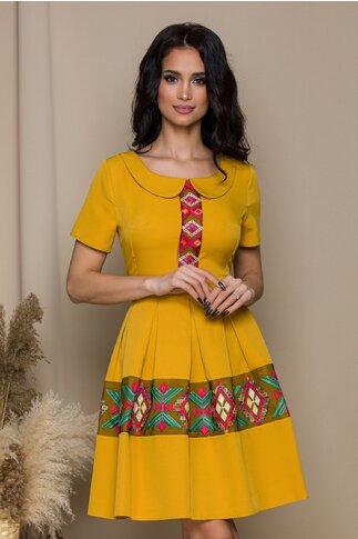 Rochie Lariss galben mustar cu motive traditionale