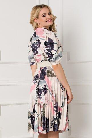 Rochie Larissa ivoire cu imprimeu floral si fusta plisata