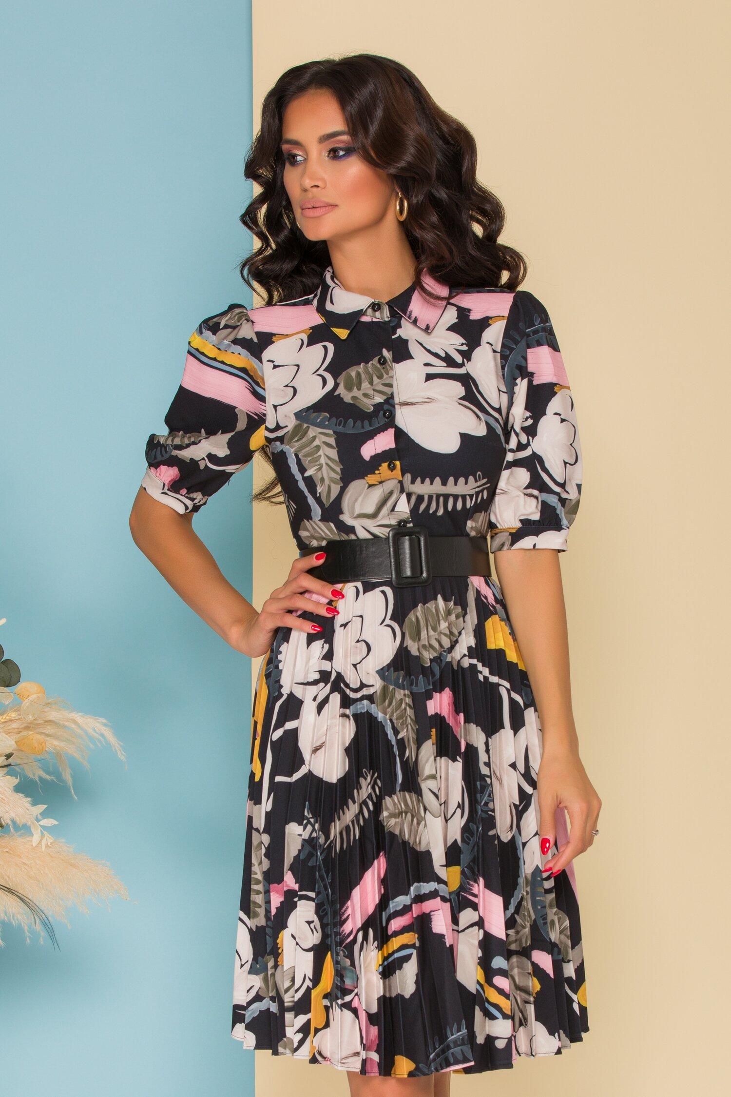 Rochie Larissa neagra cu imprimeu floral si fusta plisata