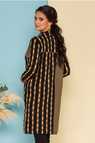 Rochie Larra neagra cu imprimeuri camel