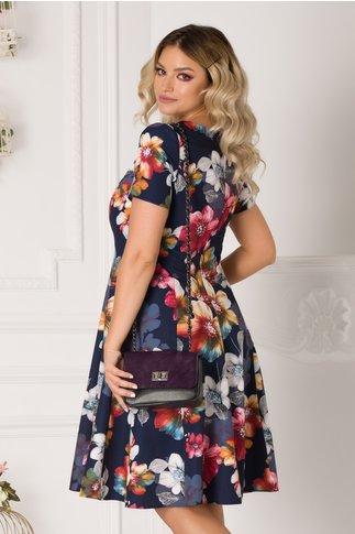 Rochie Lavinia bleumarin cu imprimeuri florale colorate