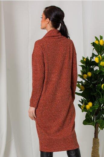 Rochie Laya caramizie din tricot cu buzunar maxi