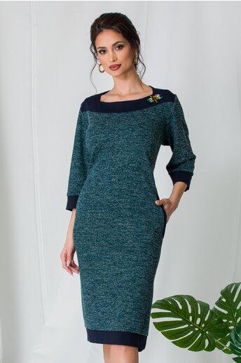 Rochie Layla verde cu detalii bleumarin si insertii din fir lurex