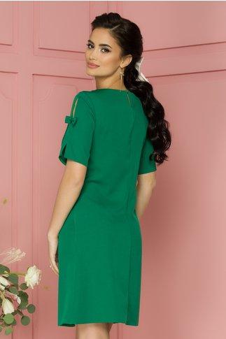 Rochie Laynela verde  cu maneci scurte cu fundita