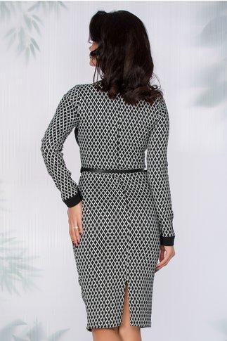 Rochie Leah cu imprimeu alb-negru si curea in talie