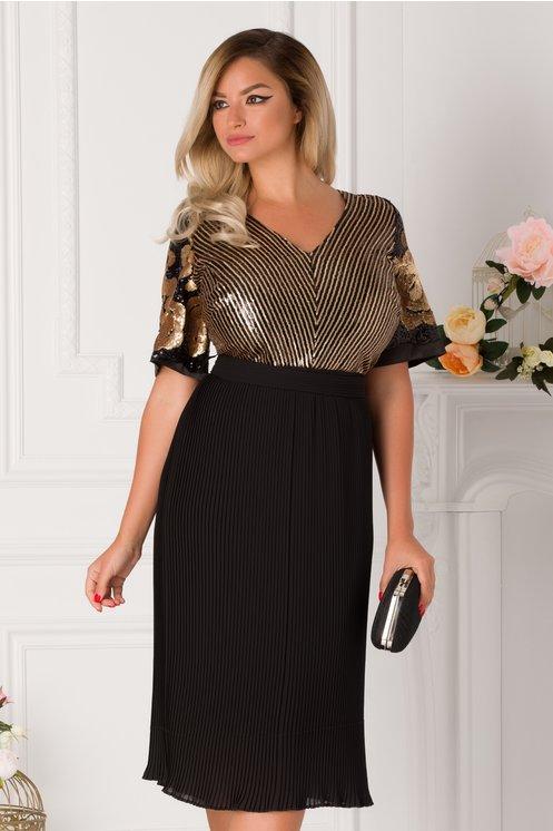 Rochie Leila neagra cu paiete negre si aurii si fusta plisata